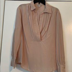 Garnet Hill silk blouse in blush pink, size 10